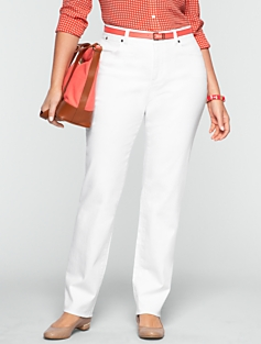 Slimming Curvy White Straight-Leg Jeans