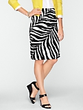 Cotton Zebra-Print Pencil Skirt