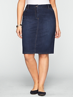 Dark Ocean Wash Denim Skirt