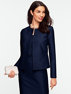 Faille Jewel-Neck Jacket