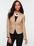 Double-Weave Stand V-Neck Jacket