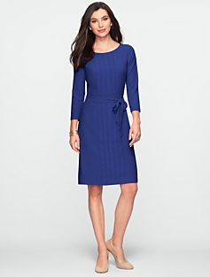 Pleat-Front Crepe Dress