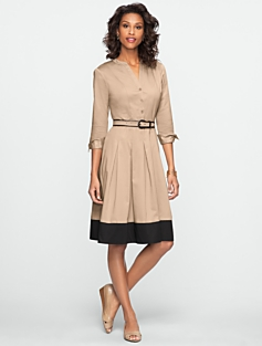 Blocked-Hem Shirtdress