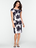 Beaded Graphic Flower Cotton Jacquard Dress