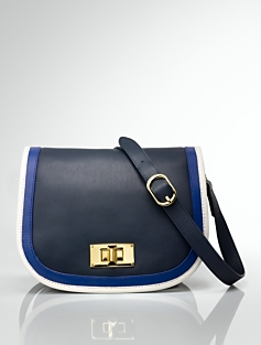 Colorblocked Leather Flap-Front Bag