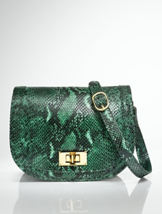 Python-Embossed Flap-Front Bag