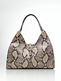 Python-Embossed Leather Hobo