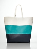 Colorblocked Leather Tote