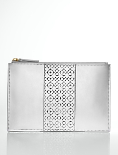 Laser-Cut Metallic Leather Zip Pouch
