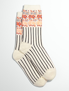 Flower-Topped Stripe Socks