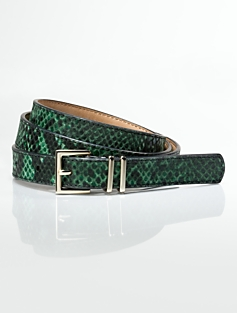 Python-Embossed Italian Double-Keeper Belt