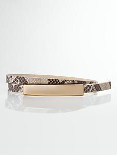 Python-Embossed Leather Bar-Buckle Belt