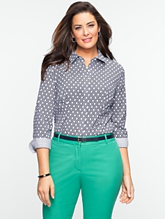 Wrinkle Resistant Diamond-Print Shirt
