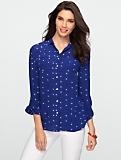 Silk Patch-Pocket Heart Print Shirt