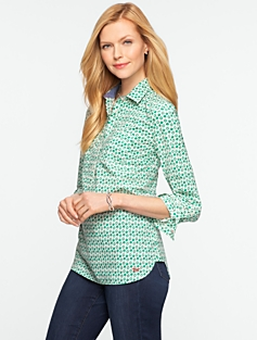 Apple Print Cotton Lawn Shirt
