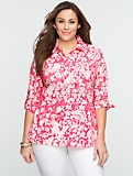 Bi-Color Floral Patch-Pocket Cotton Shirt
