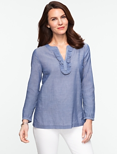 Chambray Voile Ruffled Cotton Tunic
