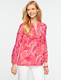 Bold Paisley Ruffled Cotton Tunic