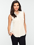 Washable Silk Sleeveless Pocket Shirt