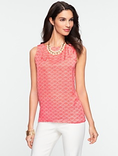Scallop Dot Silk Top