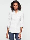 Cotton Lawn Button-Front Shirt