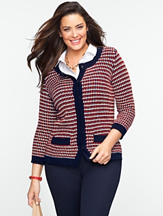Eyelet-Stitch Sweater Cotton Jacket