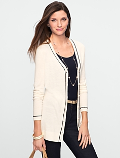 Tipped V-Neck Cardigan