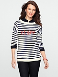 Sequin Je T'aime Stripe Sweater