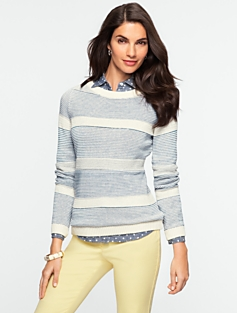 Mixed-Stitch Stripe Sweater