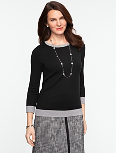 Tipped Back-Button Sweater