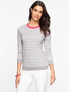 Tipped Back-Button Stripe Sweater