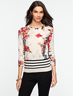 Flower Stripe Sweater