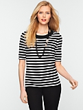 Elbow Sleeve Striped Pullover
