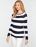 Mesh-Stitch Bold Stripe Sweater