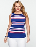 Amy Stripes Pima Cotton Boatneck Tank