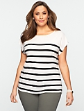 Blocked-Stripe Dolman Tee