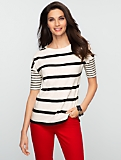 Striped Slub-Knit Drop Shoulder Tee