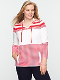 Stretch Weekend Terry Blocked-Stripe Hoodie