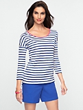 Striped Linen Drop-Shoulder Tee
