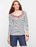Cabochon Beaded Striped Tee