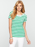 Striped Beaded Balletneck Tee