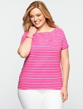 Day Stripes Slub-Knit Boatneck Tee