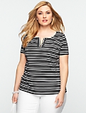 Amalfi Stripes Slit-Crewneck Tee