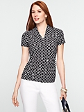 Ikat Dots Stand V-Neck Top