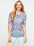Preppy-Tile Print Stretch Weekend Bateau Neck Tee