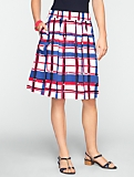 Painted Plaid Pleated Full Skirt