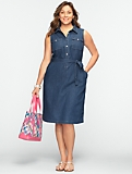 Sleeveless Denim Shirtdress