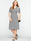 Ikat Tile Print Ruched Surplice-Bodice Dress