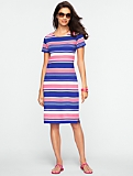 Fiesta Stripes Zip-Shoulder Tee Dress