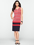 Border-Stripes Notched-Scoopneck Dress
